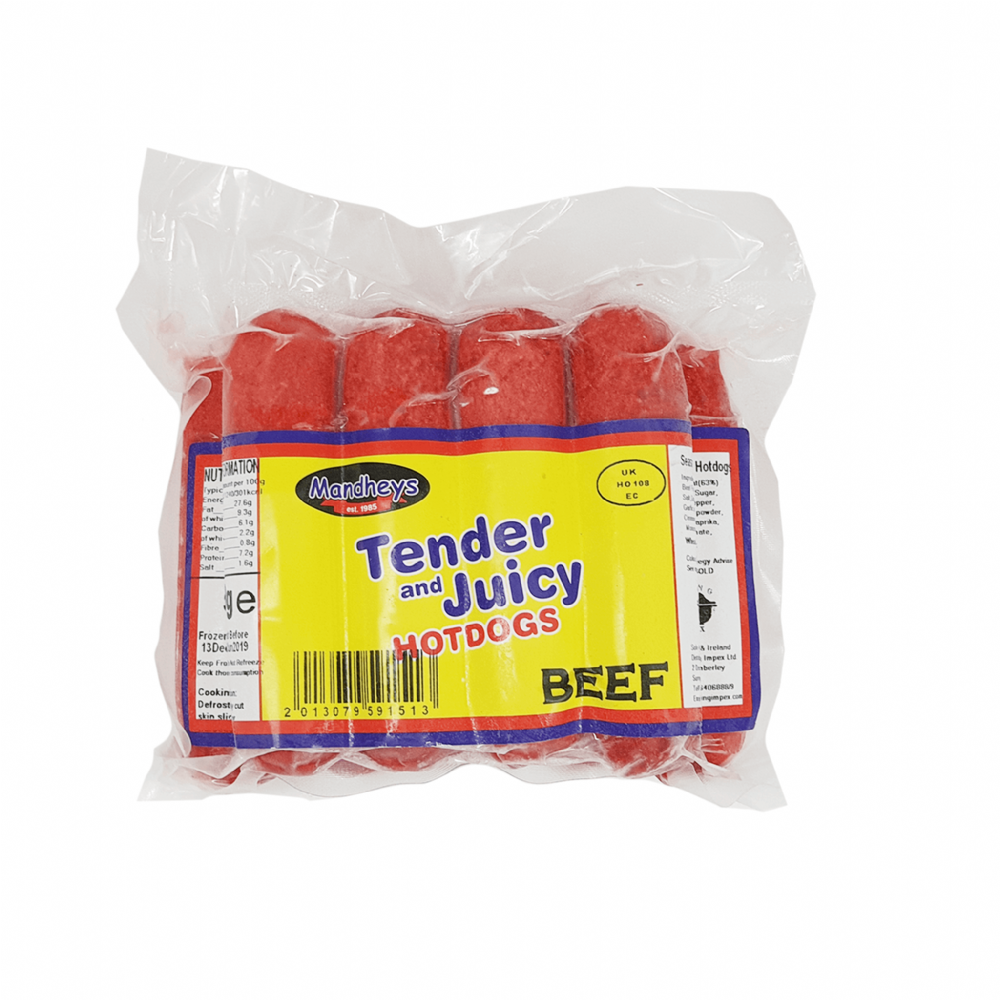 Mandheys Tender and Juicy Hotdogs Beef 500g